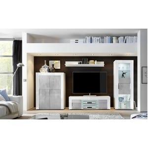 Parete soggiorno Livigno Cemento e Bianco