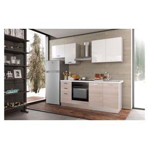 Cucina Smart finitura bianco dx con pensile e frigorifero