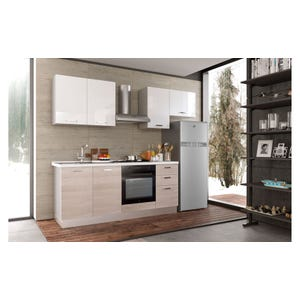 Cucina Smart finitura bianco sx con pensile e frigorifero