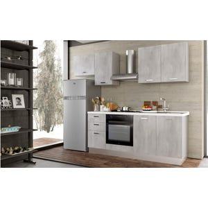 Cucina Smart finitura cemento dx con pensile e frigorifero