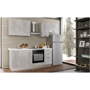 Cucina Smart finitura cemento sx con pensile e frigorifero